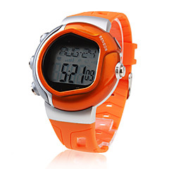 Herren Sportuhr digital LCD / Pulsmesser / Kalender / Chronograph / Alarm Caucho Band Orange Marke-