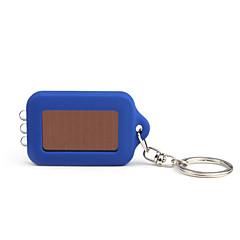 태양 전원 공급 하얀 빛 3 LED 열쇠 고리 후레쉬 (파란색)