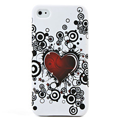 Heart Pattern Protective Silicone Soft Case for iPhone 4 (White)