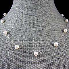 7-8mm natural de agua dulce collar de perlas con cadena de plata - 18 pulgadas (más colores)