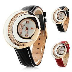 de cuero de la mujer aanlog reloj de pulsera de cuarzo con forma de luna caso (varios colores)