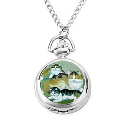aluminiowe damskie zegarki kwarcowe analogowe naszyjnik z kotów (srebrny)