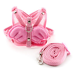 Dog Harness / Leash Cute and Cuddly / Breathable / Angel Pink Textile