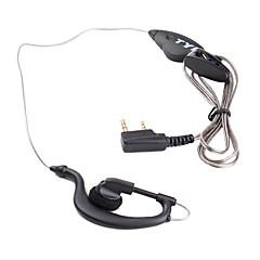 Estilo para el Corazón de manos libres de auriculares con clip de micrófono para el walkie talkie (negro)