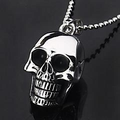 Eruner®Titanium Steel Black Skull Head Style Pendant Necklace