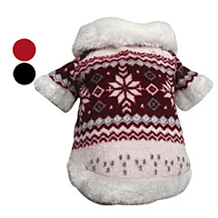Dog Coat Red / Black Winter Snowflake
