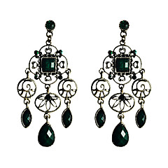 Lureme®Hollow-Out Vintage Silver Pendant Turquoise Earrings