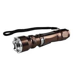 taktiska fokus zoom 5-mode Cree XM-L T6 LED Ficklampa med misshandel krona (brunt, 1x18650)