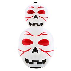 Lanterna de Halloween do estilo do crânio com vermelho e azul LED piscando e efeitos de som (3xAG13)
