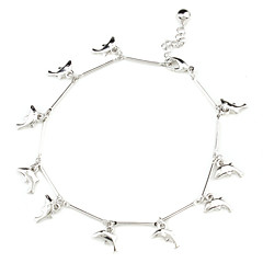 Dolphin Shape with Single Tinkle Bell Sliver Plated Anklet