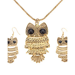 zabytkowe brązowy sowa biżuteria zestaw kobiet (naszyjnik& kolczyki)