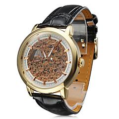 Men's Auto-Mechanical Elegant Gold Dial Black PU Band Wrist Watch