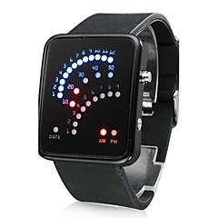 Silikon Uhr mit 29 LED Licht Anzeige (Schwarz)
