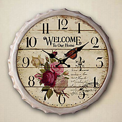 """13.5""""H Country Floral Metal Wall Clock"""