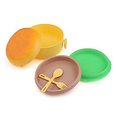 Plastic Cute Round Hamburger Shape Lunch Box Gift with Fork and Spoon