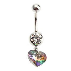 Women's Belly Piercing Multicolor Crystal Heart Stainless Navel Ring