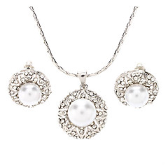 Z&X®  Pearl Diamond Necklace  Small Sets Of Chains Earrings