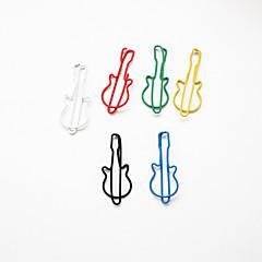 Guitar Pattern Plastic Wrapped Paper Clips(10PCS Random Colors)