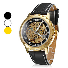 Men's Water Resistant Style Analog PU Mechanical Wrist Watch (Assorted Colors)