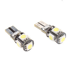 t10 1w 5x5050smd wit licht led lamp voor auto-instrument / zijmarkeringslicht CANbus (12v, 1-pair)