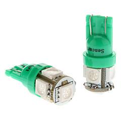 T10 1W 5x5050SMD Green Light Bulb para carros luzes de presença laterais (DC 12V, 1-Pair) LED