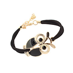 Women's Charm Bracelet Vintage Bracelet Basic Vintage Adjustable Cute Style Leather Acrylic Feather Alloy Owl White Black Red Blue Jewelry