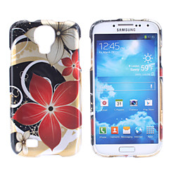 Red kukkakuvio Hard Case for Samsung Galaxy S4 I9500