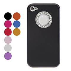 Elegant Solid Color Diamond Frame Round Edge Hard Case for iPhone 4/4S (Assorted Colors)