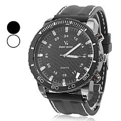 Men's Fashion Style Black Dial Silicone Band Quartz Wrist Watch (Assorted Colors)