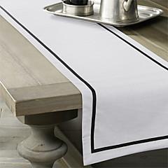 Black / Off-white Linen Rectangular Table Runners