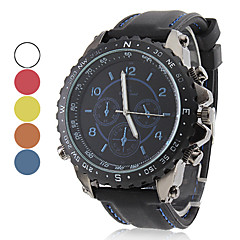 mannen racing stijl zwarte siliconen band quartz horloge (verschillende kleuren)