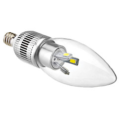 E12 3W 6x5630SMD 200-220LM 5800-6500K Natural White LED Bulb Candle (110-240V)