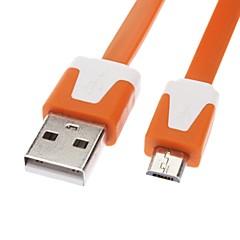 Micro USB til USB Mand til Kvinde Data Kabel til Samsung / Huawei / ZTE / Nokia / HTC / Sony Ericson Flat Type Orange (1M)