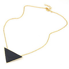 Women's Gold Plated Alloy Acrylic Triangle Pattern Necklace