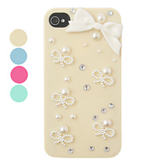 DIY Pearl Bowknot Ornament Plastic Back Case for iPhone 4/4S(Assorted Color)