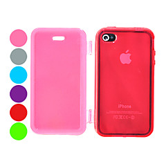 TPU Pure Color Transparent Full Body Case for iPhone 4/4S(Assorted Color)