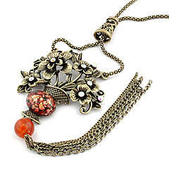 Vintage Flowers Basket Alloy Sweater Chain Y Necklace(Random Color)