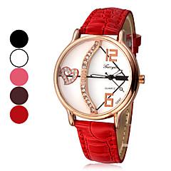 Sous-modèle Dial cuir PU bande de montre bracelet à quartz analogique de l'amour des femmes (couleurs assorties)
