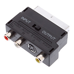 Scart 21-Pin Male naar S-Video + 3 RCA Female Adapter Black