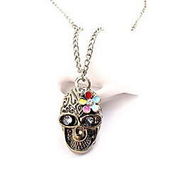 European and American jewelry diamond skull wearing a flower long sweater chain necklace N58