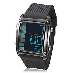 Unisex Retângulo LCD Digital Dial Rubber relógio de pulso Band (cores sortidas)