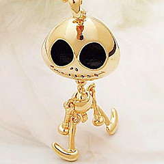Alien devil skull long necklace gold black(random color)