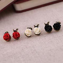 Σκουλαρίκι Flower Shape Κουμπωτά Σκουλαρίκια Κοσμήματα Πάρτι / Καθημερινά Κράμα / Ρητίνη Γυναικεία Μαύρο / Λευκό / Κόκκινο