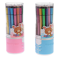 24 Colors Cartoon Pattern Water Color Pen with Stamp (Random Color)