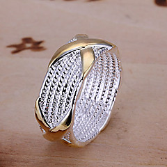 X Design Silver & Gold Ring