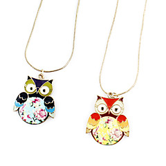 Multicolor Alloy Owl Pendant Necklace(Assorted Color)