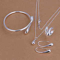 Jewelry Set Basic Fashion Silver Sterling Silver Drop Teardrop Silver Necklaces Earrings Rings Bracelets & Bangles ForParty Birthday
