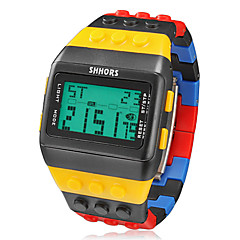 Men's Watch Sports Block Bricks Style LCD Digital Colorful Plastic Band