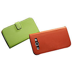 Genuine Leather Wallet Stand Design Case with Card Holder and Magnetic Snap for Samsung Galaxy S3 I9300