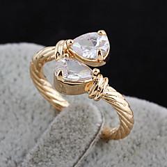 Gold plated bronze zircon Ring J1106